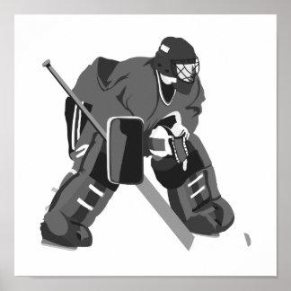 Gray Goalie Hockey Poster