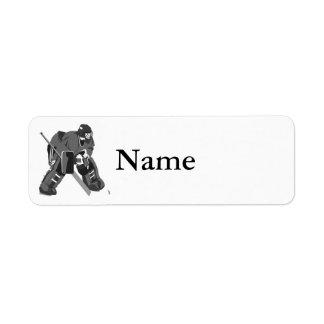 Gray Goalie Hockey Return Address Label