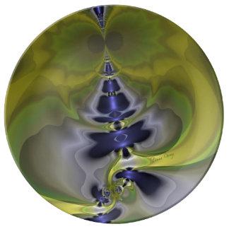 Gray Goblin in Green, Abstract Fun Spooky Imp Porcelain Plate