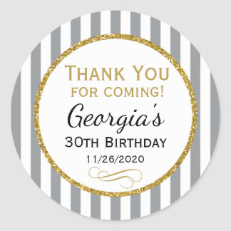 Gray Gold Birthday Thank You Coming Grey Favor Tag Round Sticker