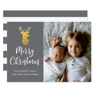 Gray & Gold Deer Merry Christmas Photo Card