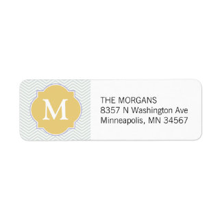 Gray & Gold Modern Chevron Custom Monogram Return Address Label