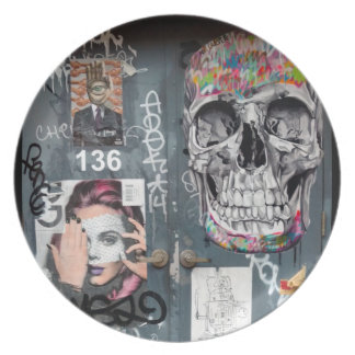 Gray Graffiti Plate