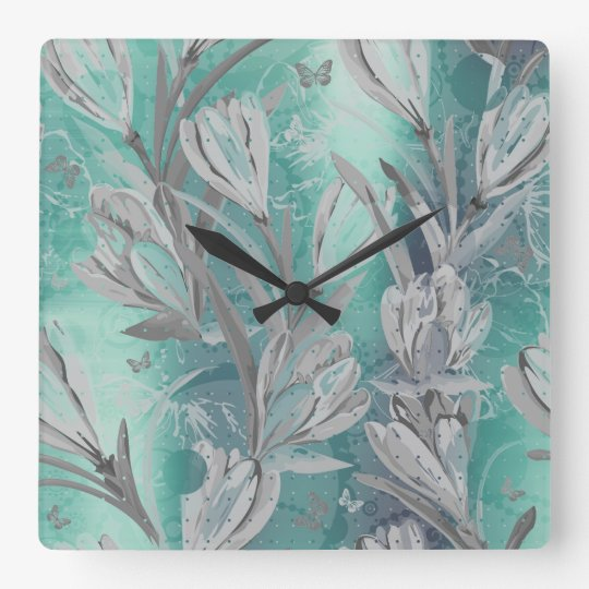 Gray Graphite Aquatic Teal Floral Butterfly Square Wall