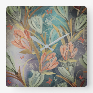 Gray Graphite Coral Brown Salvia Floral Butterfly Wallclock