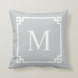 Gray Greek Key Corners | Throw Pillow