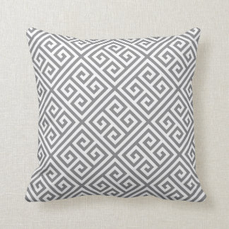 Gray Greek Key Pattern Cushion