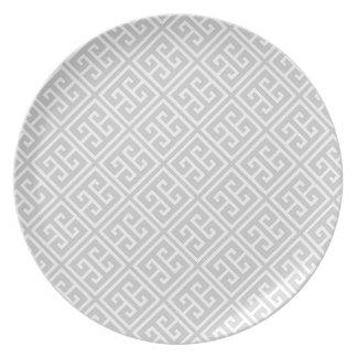 Gray Greek Key Pattern Dinner Plate