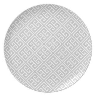Gray Greek Key Pattern Plate