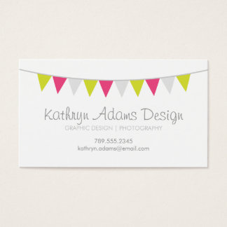 Gray Green and Pink Modern Bunting Business Card