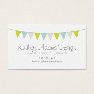 Gray Green & Aqua Modern Bunting Business Card
