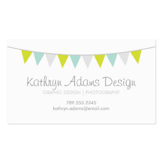 Gray Green & Aqua Modern Bunting Pack Of Standard Business Cards