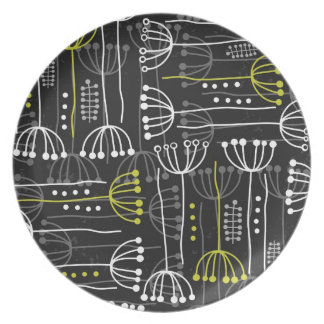 gray green botanical pattern on dark plate