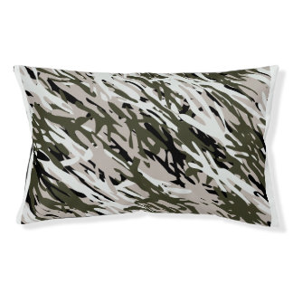 Gray Green Camouflage Dog Pillow