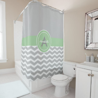 Gray Green Chevron Shower Curtain