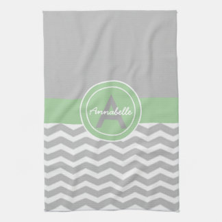 Gray Green Chevron Tea Towel
