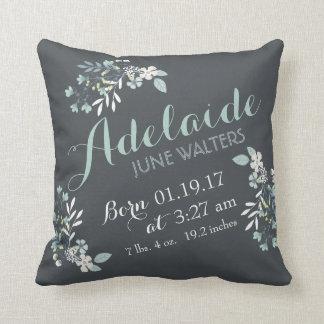 Gray Green Floral Nursery Keepsake Cushion