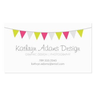 Gray Green Pink Modern Bunting Business Cards