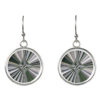 Gray-Green Starburst Circular Drop Earrings