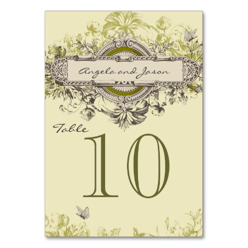 Gray Green Vintage Wedding Table Number Card Table Cards