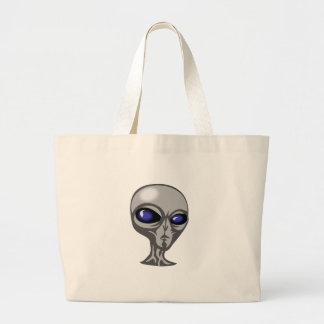 Gray/Grey Alien with Big Blue Eyes and Shiny Head Canvas Bags