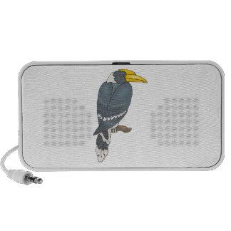 Gray/Grey and White Hornbill Bird iPhone Speaker