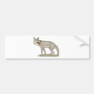 Gray/Grey Cartoon Coyote with Its Mouth Open Bumper Stickers