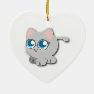 Gray/Grey Cat with Big Blue Eyes and Short Legs Christmas Ornament