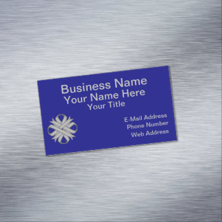 Gray / Grey Clover Ribbon Magnetic Business Cards
