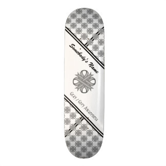 Gray / Grey Clover Ribbon Skateboard Deck