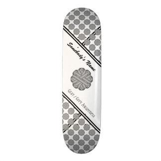 Gray / Grey Flower Ribbon Skateboard Deck
