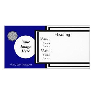 Gray / Grey Flower Ribbon Template Custom Photo Card
