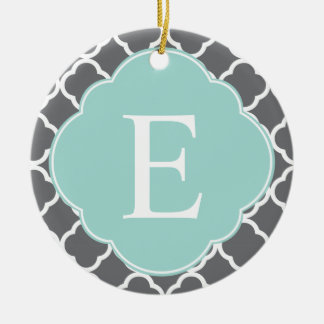 Gray Grey Mint Quatrefoil Monogram Christmas Ornament