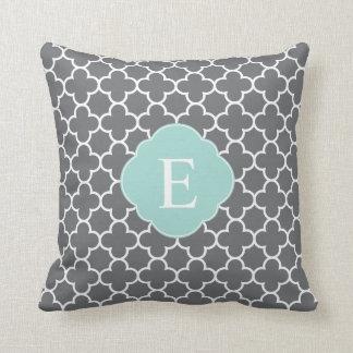 Gray Grey Mint Quatrefoil Monogram Cushion