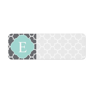 Gray Grey Mint Quatrefoil Monogram Return Address Label
