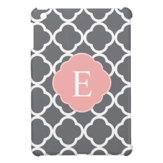 Gray Grey Peach Quatrefoil Monogram Cover For The iPad Mini