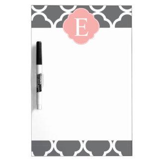 Gray Grey Peach Quatrefoil Monogram Dry Erase Board
