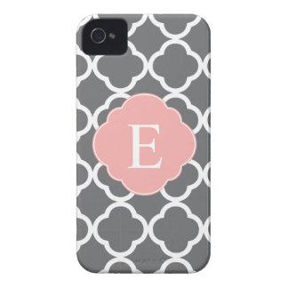 Gray Grey Peach Quatrefoil Monogram iPhone 4 Case