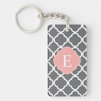 Gray Grey Peach Quatrefoil Monogram Key Ring