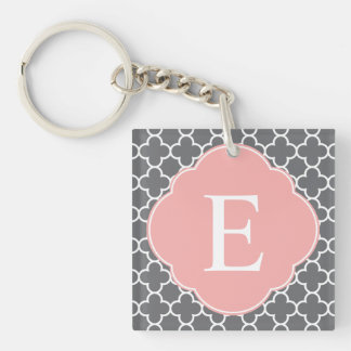 Gray Grey Peach Quatrefoil Monogram Single-Sided Square Acrylic Key Ring