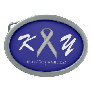 Gray / Grey Standard Ribbon Belt Buckle