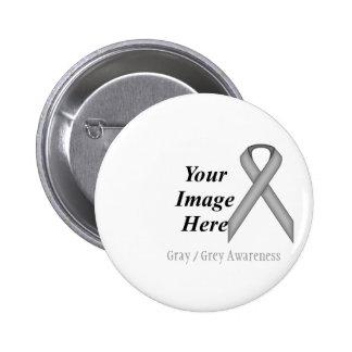 Gray / Grey Standard Ribbon by Kenneth Yoncich 6 Cm Round Badge