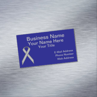 Gray / Grey Standard Ribbon Magnetic Business Cards