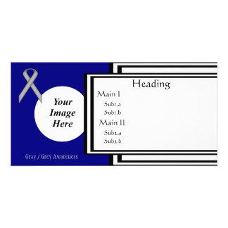 Gray / Grey Standard Ribbon Template Custom Photo Card