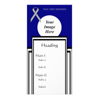 Gray / Grey Standard Ribbon Template Photo Cards