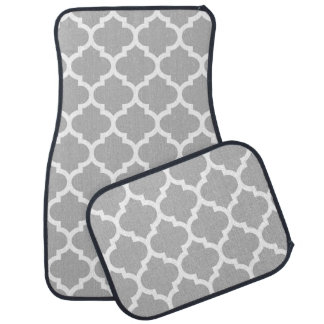 Gray Grey White Moroccan Quatrefoil Pattern #5 Car Mat