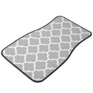 Gray Grey White Moroccan Quatrefoil Pattern #5 Car Mat