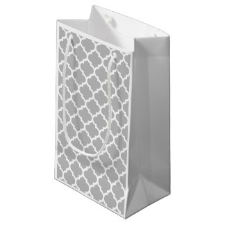 Gray Grey White Moroccan Quatrefoil Pattern #5 Small Gift Bag