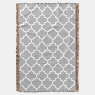 Gray Grey White Moroccan Quatrefoil Pattern #5 Throw Blanket