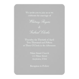Gray Grey White Plain Simple Wedding Invitation